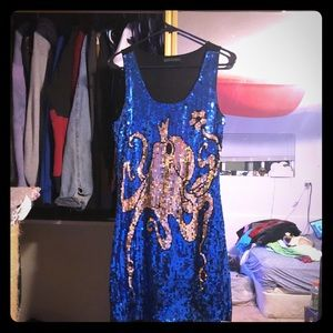 Dresses & Skirts - Octopus king sequin dress blue gold NYE XS/S